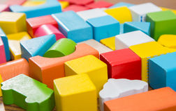 Sorted wooden toy Block. Background Stock Images