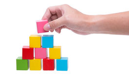 Sorted wooden toy Block. Background Royalty Free Stock Photo