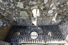 Sortelha – Castle Machicolation and Arrow Loop. View of the castle machicolation and arrow loop in Sortelha, Portugal stock photography