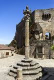 Sortelha – Medieval Pillory. View of the Manueline pillory built in the 16th century 1510 by order of King Manuel in Sortelha, Portugal Royalty Free Stock Photos