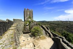 Sortelha – Romanesque Medieval Fortress. View of the medieval fortress built in early 13th century by the Portuguese King Sancho II in Sortelha, Portugal Stock Photo