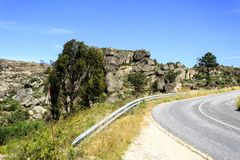 Sortelha – Granite Outcrops on the Road Stock Images