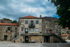 Sortelha historical mountain village, built within Medieval fortified walls, included in Portugal`s Historical village. Route royalty free stock images