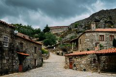 Sortelha historical mountain village, built within Medieval fortified walls, included in Portugal`s Historical village. Route royalty free stock image