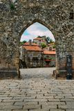 Sortelha historical mountain village, built within Medieval fortified walls, included in Portugal`s Historical village. Sortelha, Portugal - June 11, 2018 stock photo