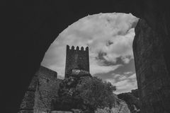 Sortelha historical mountain village, built within Medieval fortified walls, included in Portugal`s Historical village. Route. Monochrome royalty free stock photos
