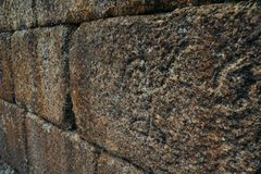 Symbolic carvings on castle wall - Sortelha, Portugal. Sortelha historical mountain village, built within Medieval fortified walls, included in Portugal`s royalty free stock images