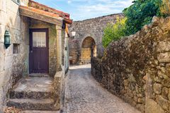 Sortelha. Street in historical village of Sortelha, Portugal stock image