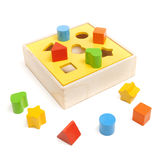 Sorter child toy. On the white stock photo