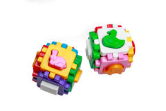 Sorter Toy colorful cubes with interlocking parts Royalty Free Stock Image