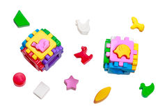Sorter Toy colorful cubes with interlocking parts Stock Photos