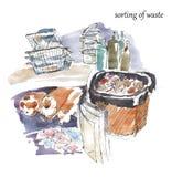 Sortera avfalls för återanvändning Waetrcolor illustration Arkivfoto