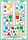 Sortera på färg Sortera leken Grupp vid färggräsplan som är röd, guling _ Special sorterare för förskole- ungar Arbetssedel för royaltyfri illustrationer