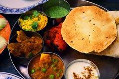 Sorterad indisk matuppsättning i magasinet, tandurihöna, naan bröd, yoghurt, traditionell curry, roti royaltyfri foto