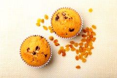 Sorterat med läckra hemlagade muffin med russin och choklad som isoleras på textilbakgrund muffiner Top beskådar royaltyfri fotografi