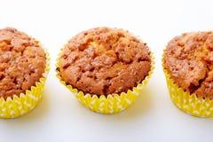 Sorterat med läckra hemlagade muffin med russin och choklad som isoleras på vit bakgrund muffiner Top beskådar arkivfoton
