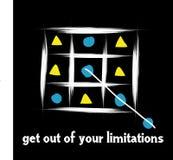 Sortez de vos limitations ou frontière illustration stock