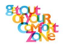 SORTEZ de VOTRE affiche de typographie de ZONE de CONFORT illustration libre de droits