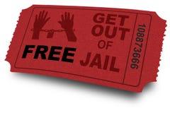 Sortez du billet de prison photo stock
