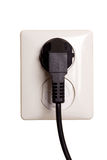 Sortie électrique avec la fiche Photo stock