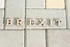 Sortie de la Grande-Bretagne d'Union européenne, un abrégé sur mot de Brexit dans des lettres de vintage Photographie stock libre de droits