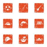 Sortie icons set, grunge style. Sortie icons set. Grunge set of 9 sortie vector icons for web isolated on white background Royalty Free Stock Images