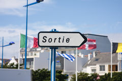 Sortie sign. A French Sortie roadsign showing the way out Royalty Free Stock Photos