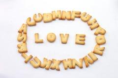 Sortieren Sie die Briefe in Wörter Liebe lizenzfreies stockbild