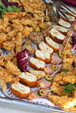Sortierte Abendessenhochebene Stockfoto