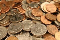 Sortierte amerikanische Münzen Stockbilder