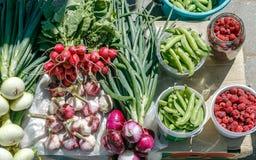 Sortierte Beeren und Gemüsehimbeere, Rettich, Zwiebel, Knoblauch und Erbsen stockbild