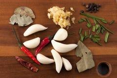 Sortierte Bestandteile für das Kochen Stockfotos