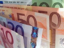 Sortierte Eurobanknoten Lizenzfreie Stockfotos