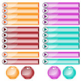 Sortierte Farben und Formen des Webs Tasten Stockbild