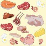 Sortierte Fischgarnele des rohen Fleisches des Fleischmustersteakschweinefleischrindfleischtruthahns ärgert stockbilder