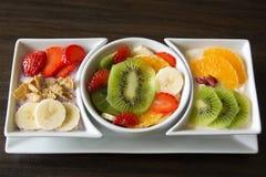 Sortierte frische Frucht mit Jogurt Stockbilder