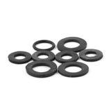 Sortierte Gummio-ringe, lokalisiert Stockfoto
