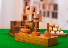 Sortierte hölzerne Gehirnharte nuss oder hölzerne Puzzlespiele auf grüner Tabelle in einem unscharfen Hintergrund Lizenzfreie Stockbilder