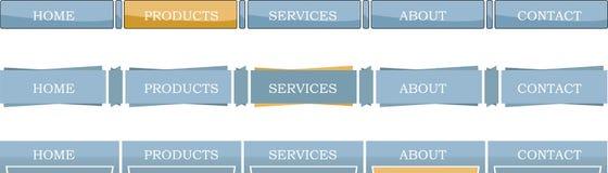 Sortierte horizontale Menüs Stockfoto