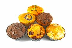 Sortierte kleine Kuchen und Muffins Stockbilder