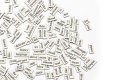 Sortierte magnetische Wörter lizenzfreie stockbilder