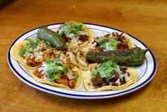 Sortierte mexikanische weiche Tacos Stockfoto