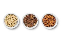 Sortierte Nüsse lokalisiert auf weißem Hintergrund Getrennt auf weißem Hintergrund Stockbilder