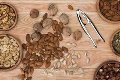Sortierte Nüsse und Nussknacker Lizenzfreies Stockfoto