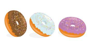 Sortierte Schaumgummiringe mit der Schokolade, die bereift wird, zacken glasiert aus und bespr?hen Schaumgummiringe Auch im corel stock abbildung