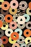 Sortierte Schaumgummiringe mit farbiger Glasur Lizenzfreie Stockfotos