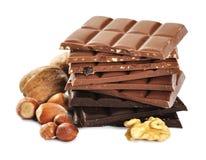 Sortierte Schokolade mit Muttern lizenzfreies stockbild