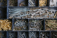 Sortierte Schrauben Stockfoto