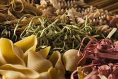 Sortierte selbst gemachte trockene italienische Teigwaren Stockfotografie
