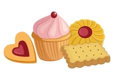 Sortierter Keks, Plätzchen und Lebensmittel-Sammlung des kleinen Kuchens stock abbildung